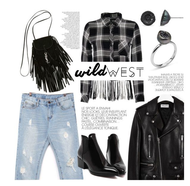 """Wild West Style"" by littlehjewelry ❤ liked on Polyvore featuring stylebyyam, Yves Saint Laurent, Rails, Pearl & Black, contestentry, wildwest, pearljewelry and littlehjewelry"