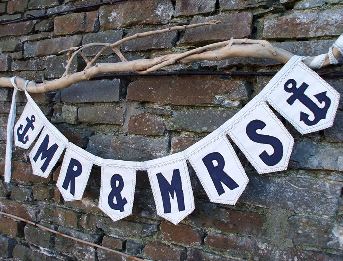 Nautical MR  MRS Banner with Anchor Detail. Beach Wedding Decor. Nautical Wedding Decor. Sign. Naval Wedding or Military Wedding Gift Idea.. €38.00, via Etsy.