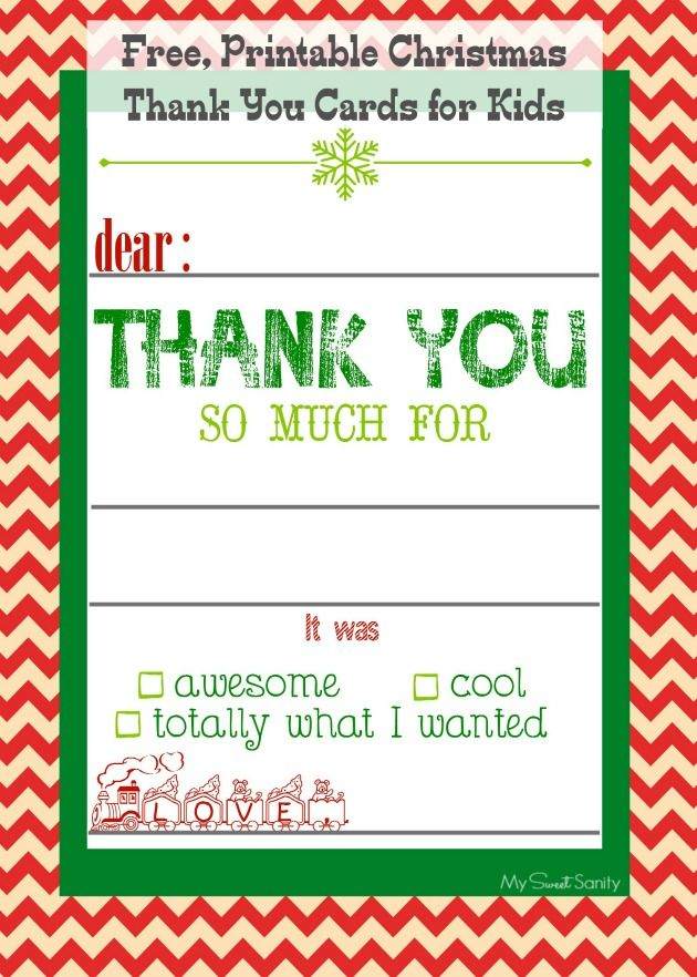 Free, printable Christmas thank you cards for kids.