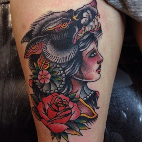 14 Beautiful Gypsy Girl Tattoos I love the coyote one her expression is beautiful