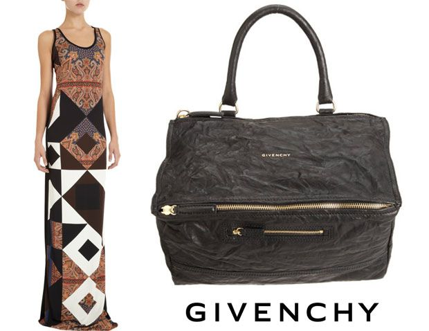 A Givenchy Paisley Dress with Givenchy crushed leather Pandora Bag - Love this look seen on Lily Aldridge out and about in NYC