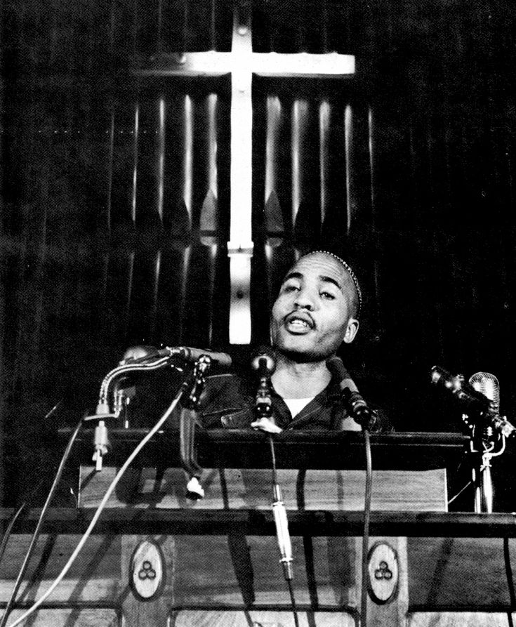 [Photogrampher unknown]. Rev. James Bevel preaches a freedom sermon in Brown Chapel, 1965.
