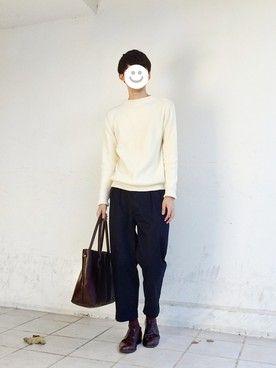 kitsuneさんの「2015秋冬  Knitted Cardboard Pants(.efiLevol|エフィレボル)」を使ったコーディネート