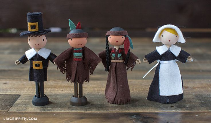Make a super-cute set of Native American and Pilgrim clothespin dolls using these patterns and tutorials from handcrafted lifestyle expert Lia Griffith.