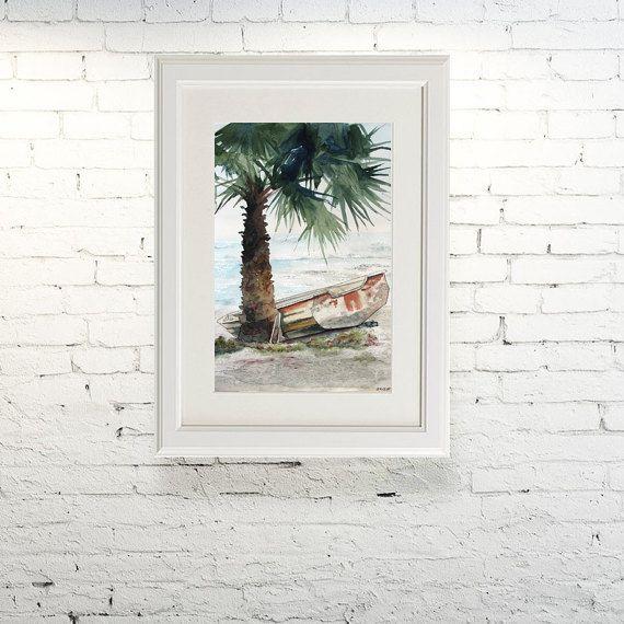 Printable wall art  Watercolor poster Lonely by TatyanaKomarovaArt