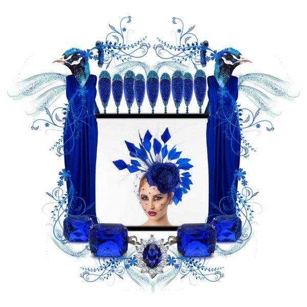 "Glass jewel earrings: ArxRosarum.etsy.com; Fascinator: ArturoRios.etsy.com; Peacocks: BarbaraSzepesiSzucs.etsy.com; Engagement ring: mdcdiamonds.com; Gown: boutique1.com; Others. ""Sapphire Dream"" by arxrosarum on Polyvore"