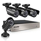 ZOSI 8-Channel HD-TVI 1080N/720P Video Security System DVR recorder with 4x HD 1280TVL Indoor/Outdoor Weatherproof CCTV Cameras NO Hard Drive ,Motion Alert, Smartphone& PC Easy Remote Access   ZOSI H.264 8 channel 1080N/720P Digital Video Recorder ,Includes 4x 1280TVL bullet Outdoor...