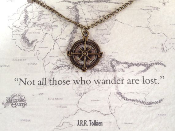 """Lord of the Rings Compass Necklace """"Not all who wander are lost"""" Tolkien Quote"""