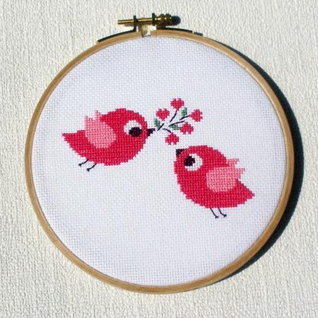 cross stitch bird love