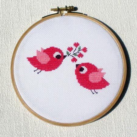 cross stitch bird love
