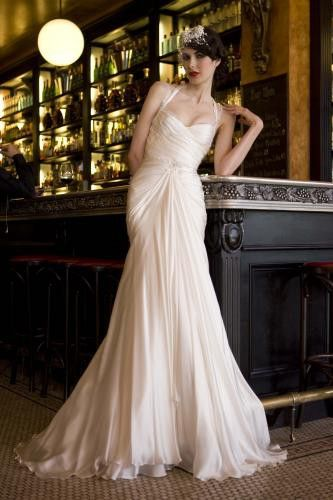 vintage wedding dress- could easily add a cashmere sweater with sparkly buttons(?) Love this one