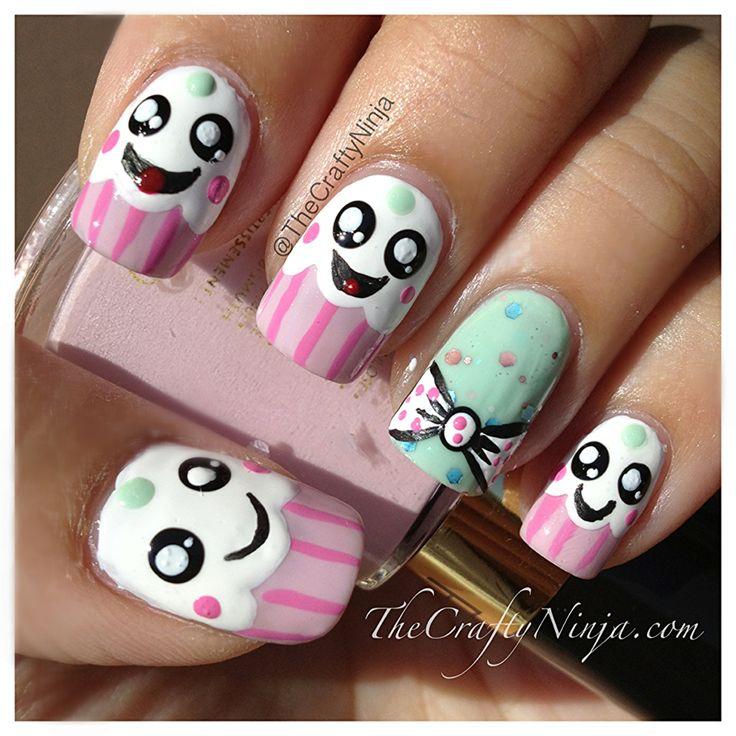 Kawaii Cupcake Nails I draw these but never on my nails im gonna try soooooo cute