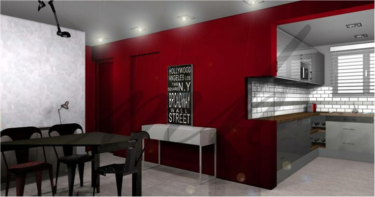 Une #decoration moderne & industrielle avec un effet de matière entre la peinture rouge mat & le béton ciré appliqué sur les murs