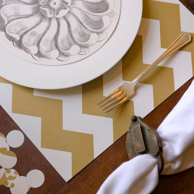 Chevron Paper Placemats @Layla Grayce. I want navy blue though...