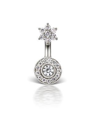 Diamond 5.5mm Flower and Medium Pave Barbell Image #1