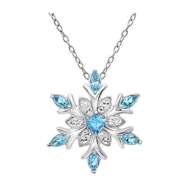 Sterling Silver Blue and White Crystal Snowflake Pendant-Necklace with... ($40) ❤ liked on Polyvore featuring jewelry, necklaces, jewels, snowflake necklace, sterling silver chain necklace, crystal necklace pendant, sterling silver necklaces and pendants & necklaces