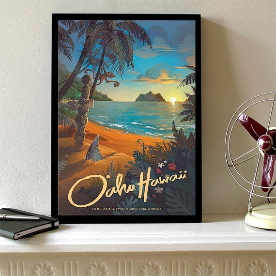 Retro Hawaii North Shore Travel Poster