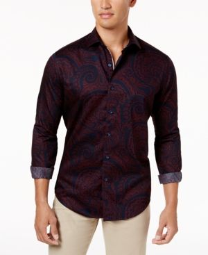 Tasso Elba Men's Paisley Shirt, Created for Macy's - Red 2XL