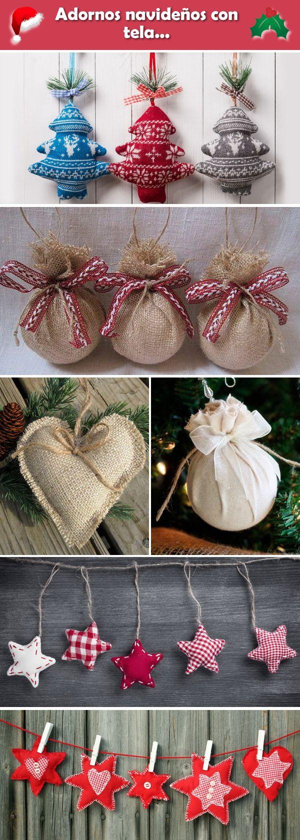Adornos de Navidad hechos con tela. Adornos navideños intervenidos con tela. Ideas originales para adornos navideños.