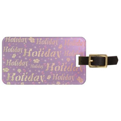 holiday Luggage tag leisure shiny metal font Luggage Tag - pattern sample design template diy cyo customize