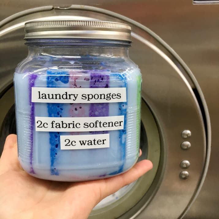 THE IDEA: Dilute fabric softener with water (in either a 1:2 or 1:1 ratio), pour over dollar-store sponges, and store in an airtight container. When it's laundry time, grab a sponge, squeeze out any excess moisture, and add that to your dryer instead of a dryer sheet. DID IT WORK? Yes!
