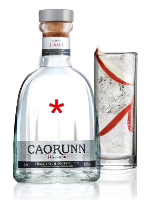 Caorunn Gin. 41,8 % ABV. Contemporary. Small batch, quadruple-distilled Scottish Gin personally crafted by Gin Master, Simon Buley. Using only the finest pure grain spirit, natural Scottish Water and 11 botanical gin ingredients. In 1,000 litre batches, the spirit is vaporised through the world's only working Copper Berry Chamber.