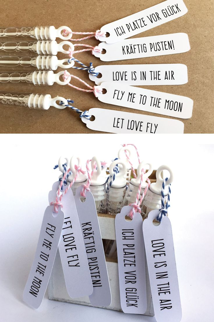 20 Seifenblasen mit Etiketten für die Hochzeit