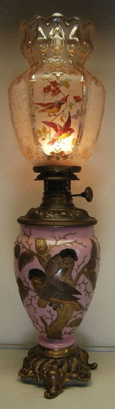 ANTIQUE FRENCH AUSTRIAN ART NOUVEAU DECO BACCARAT GWTW OIL KEROSENE BANQUET LAMP.