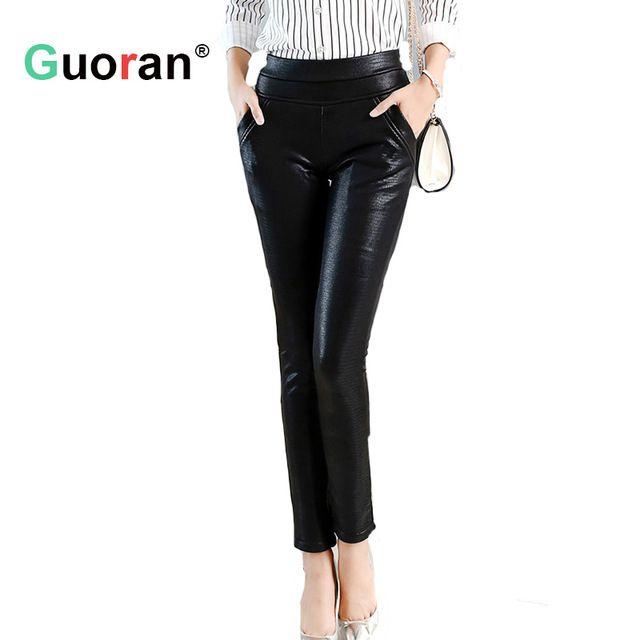 Sale Today $19.54, Buy {Guoran} Sexy Crocodile Pattern leather pants women plus size stretch faux leather trousers ladies female black pencil pants