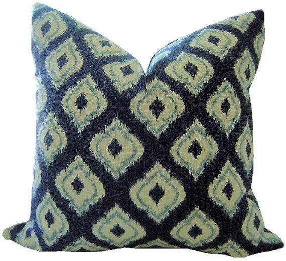 Navy IKAT Decorative Pillow Cover / by CaliforniaLivinHome on Etsy