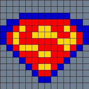 Superman On Small Square Pegboard Perler Bead Pattern / Bead Sprite