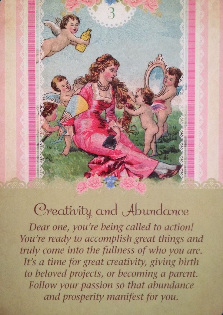 Creativity and Abundance, from the Guardian Angel Oracle Card deck, by Doreen Virtue Ph.D and Radleigh Valentine