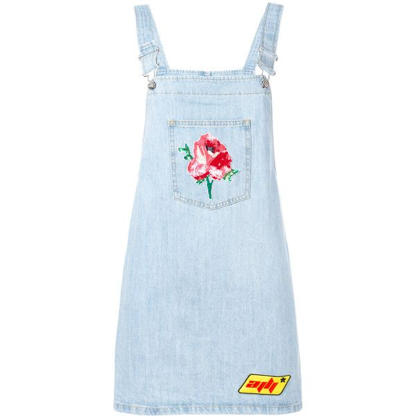 Au Jour Le Jour denim dungaree dress (5.671.360 IDR) ❤ liked on Polyvore featuring dresses, blue, one piece, overalls, skirts, denim dungaree, denim dungaree dress, au jour le jour, denim dress and blue dress