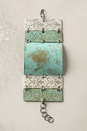 beautiful cuff bracelet - i like the elements used in this...keep in mind: Cuffs Bracelets, Beautiful Cuffs, Color, Patinas Panels, Artifact Cuffs, Patchwork Artifact, Jewelry Ideas, Jewelry Rings, Gold Jewelry