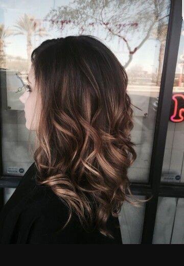 Balayage dark brown with caramel dark blonde