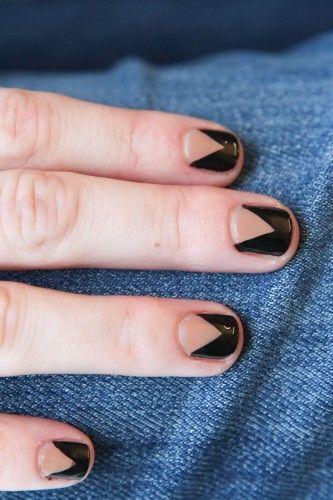 Chevron nails black and nude
