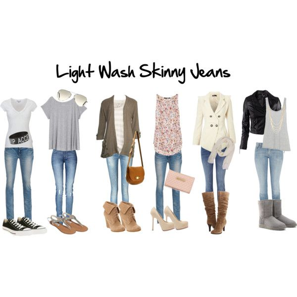 """Light Wash Skinny Jeans"" by iwashere13 on Polyvore"