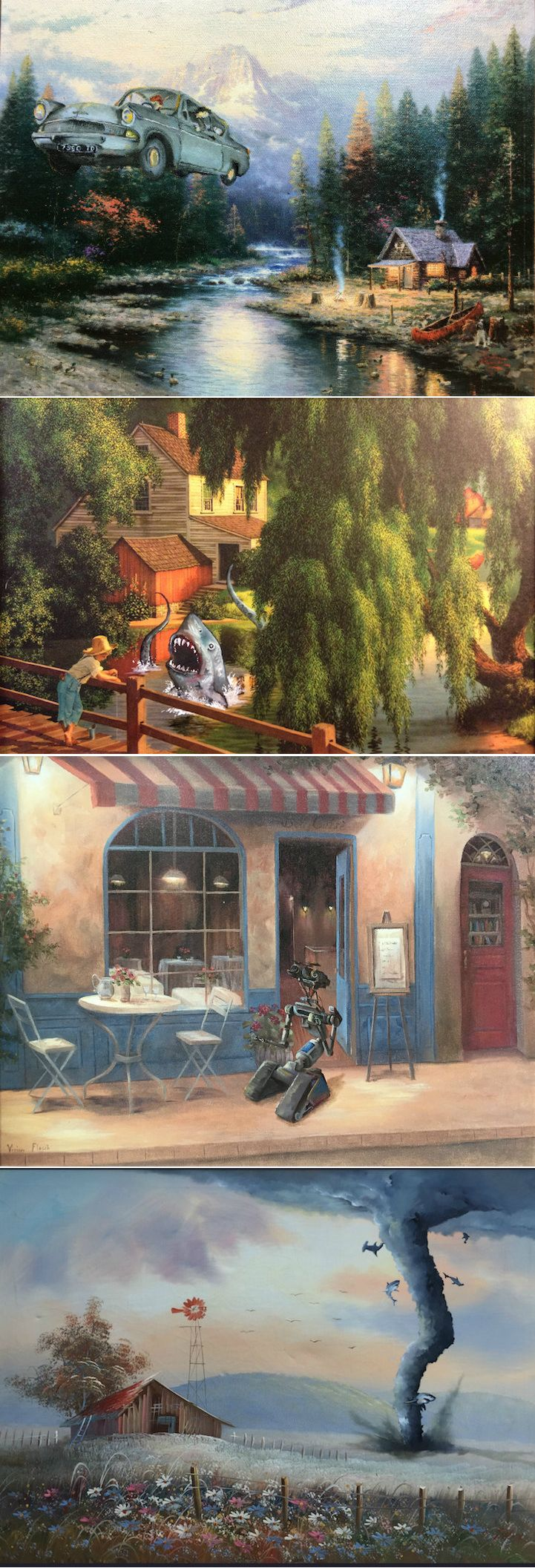 Dave Pollot takes discarded thrift store paintings and transforms them into new works of art by inserting beloved pop culture characters.