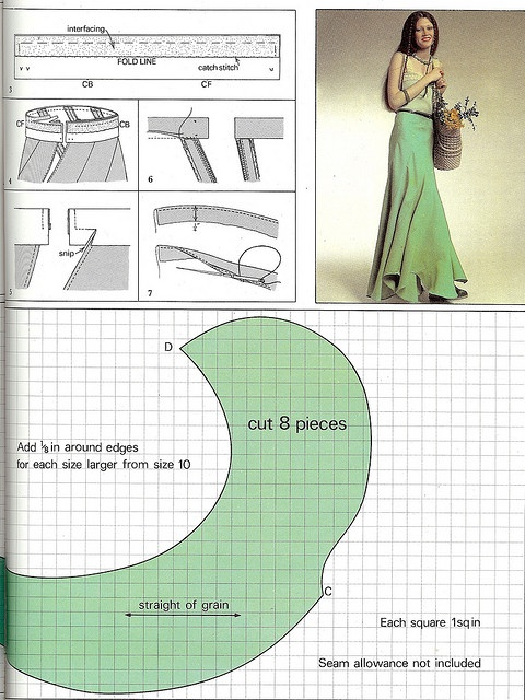 Swirly bias cut skirt pattern. When I have some time.... I NEED to make this
