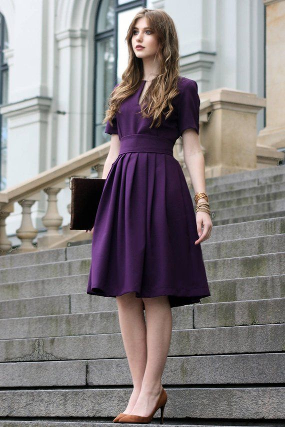 Purple Dress, Women Dress, Purple Clothing, Circle Dress, Knee Length Dress, Formal Dress, Short Sleeve Dress, Oversize Dress, 1950's Dress