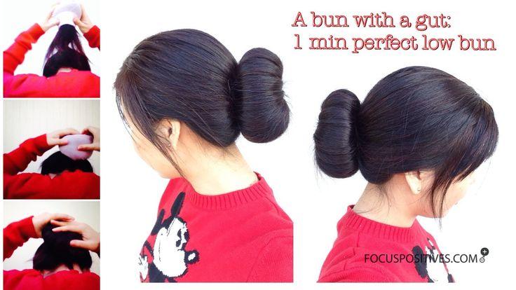 A bun with a gut: An alternative DIY LOW SOCK BUN for stubborn hair, 1 min perfect buns every time