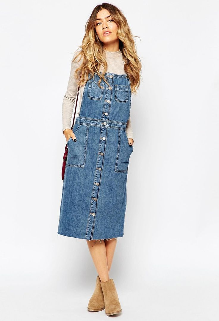 ASOS - ASOS Denim Midi Pinafore Dress With Raw Hem