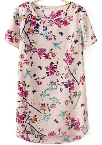 Apricot Short Sleeve Floral Butterfly Print Blouse US$22.26