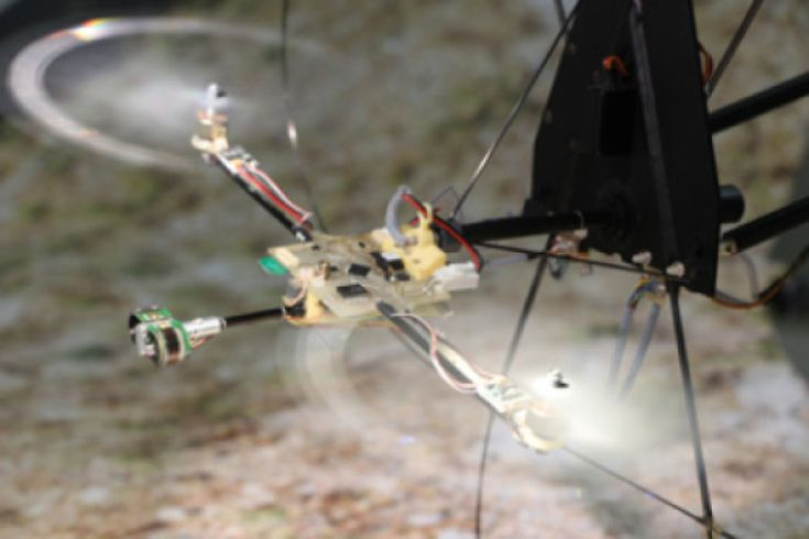 Biorobotics researchers have developed the first aerial robot able to fly over uneven terrain that is stabilized visually without an accelerometer. Called BeeRotor, it adjusts its speed and avoids obstacles thanks to optic flow sensors inspired by insect vision. It can fly along a tunnel with uneven, moving walls without measuring either speed or altitude.