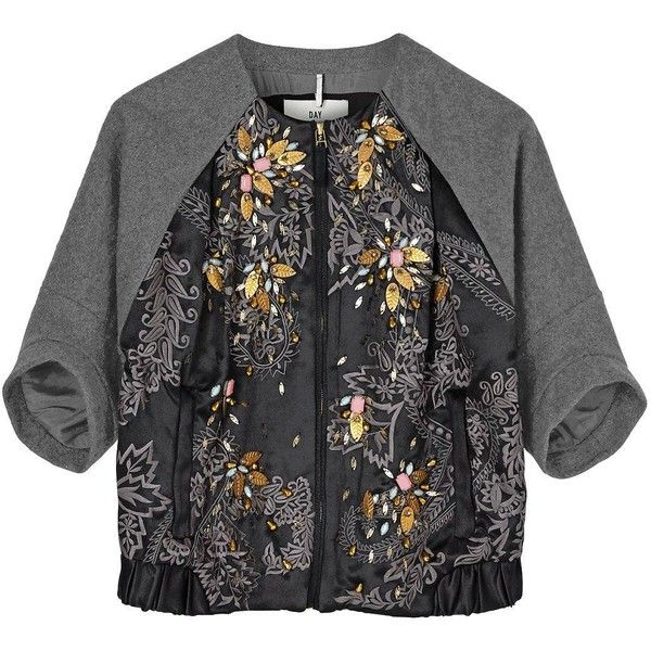 Day Birger Et Mikkelsen Orient Embellished Bomber (515 CAD) ❤ liked on Polyvore featuring outerwear, jackets, black, bomber jacket, beaded jacket, zip jacket, black jacket and day birger et mikkelsen
