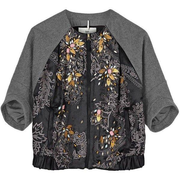 Day Birger Et Mikkelsen Orient Embellished Bomber (515 CAD) ❤ liked on Polyvore featuring outerwear, jackets, black, bomber jacket, beaded jacket, zip jacket, black jacket and day birger et mikkelsen