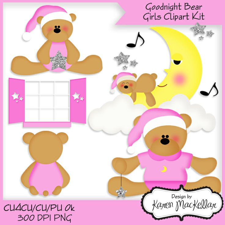 CU4CU Goodnight Girl Bears Clipart Digital Printable 300dpi