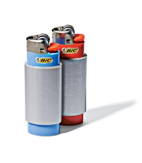 Carry Duct Tape Minus the Bulky Roll... Duct tape can be a lifesaver. But carrying an entire roll takes up valuable space inside a backpack—and you probably won't need that much tape. Wrap a couple feet around a Bic lighter, so you always have a short supply inside your pocket.