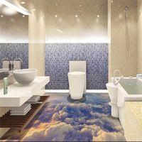 Modern Custom 3D floor mural Boundless sky clouds non-slip waterproof thickened self-adhesive PVC Wallpaper