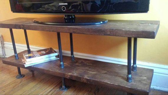 Industrial Tv Stand Media Console Bookshelf